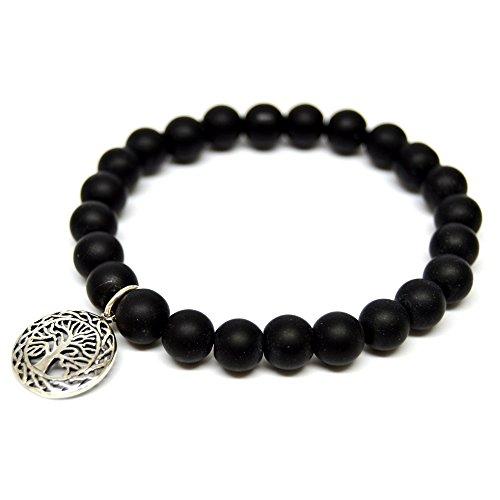 Linus Jade palla, braccialetto nero perla di onice e argento Sterling 925 albero della vita #1