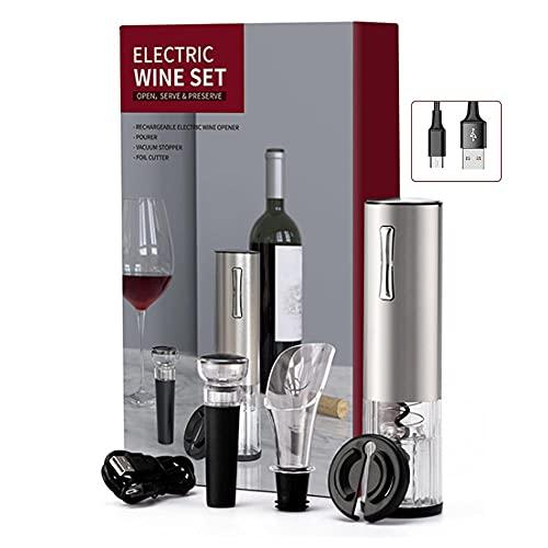 Conjunto de abrelatas de vino, retroceso recargable de botella de vino eléctrico de corcho automático sin cable con cortador de lámina, tapón de vino, decantador