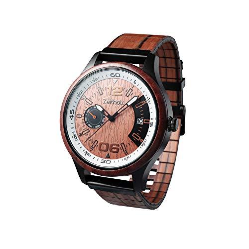 Zeitholz Holzuhr für Herren - Modell Frohnau, handgefertigt aus 100% natürlichem Sandel mit Quarzwerk - Leichte analoge Uhr mit Holzmaserung für Ihn - Verstellbares Armband passt an jedes Handgelenk