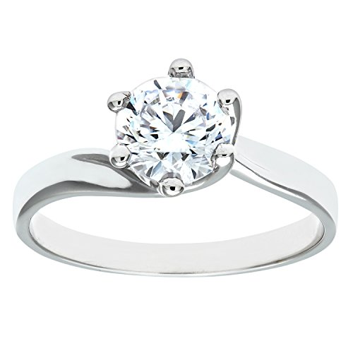 Citerna 9ct White Gold Stone Set Solitaire Ring - Size L