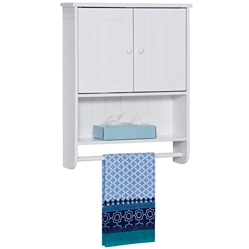 Best Choice Products Wooden Modern Contemporary Bathroom Storage Organization Wall Cabinet w/Open Cubby, Adjustable Shelf, Double Doors, Towel Bar, Wainscot Paneling, White