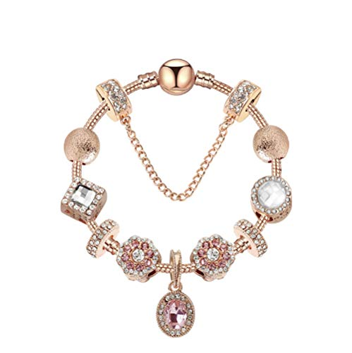 LAYYYQX Pulsera de Cadena de Oro Rosa Pulsera de Cristal Ovalada Pulseras de Mujer Moda 19cm