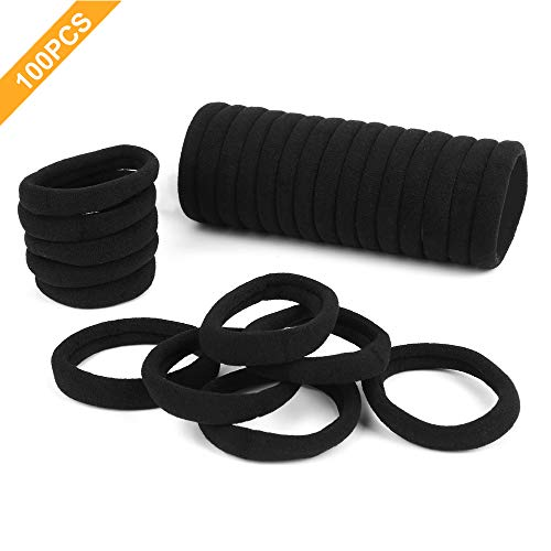 100PCS Hair Ties Black Elastic for Women and Girls, Seamless Hair Bands for Thick Hair and Curly Hair by Longshy