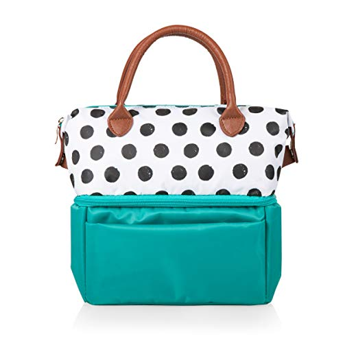 ONIVA - a Picnic Time brand Urban Lunch Bag, Polka Dots and Teal