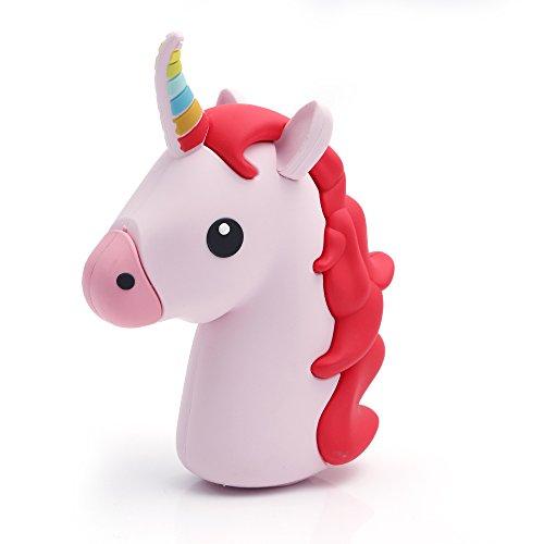 iprotect Emoji-Powerbank 2000mAh Externes Ladegerät im Unicorn-Emoji-Design in Rot für Smartphones...