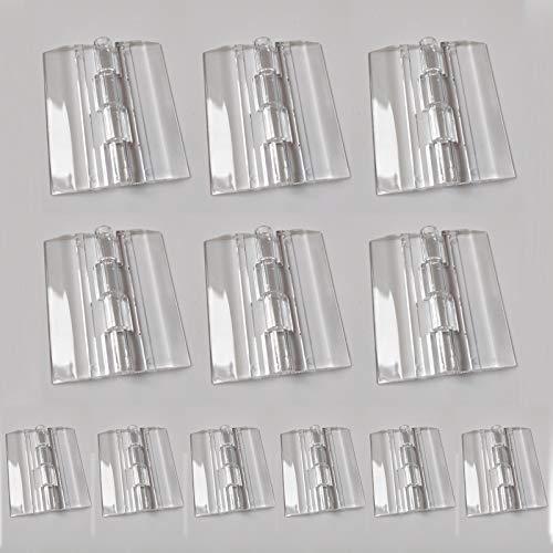 Acrílico Transparente Bisagras Durables De Plástico Caja De Maquillaje Bisagra Herramientas para bricolaje para piano Caja de joyería para gabinete de puerta, 25mm x 33mm, 45 x 38 mm