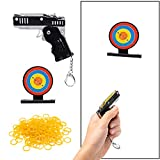 Icasy Mini Folding Rubber Band Toy Keychain - Metal Rubber Launcher Toy with Target Mark and 200pcs Yellow Rubber Bands(Black), Fun Target Shooting Training Game for Indoor/Outdoor Activities