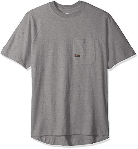 Ariat Men's Big and Tall Rebar Cottonstrong Short Sleeve CrewWork Utility Tee Shirt, heather gray, XXL T
