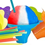 Super Cute Flower Cups and Spoon Straws Combo 10Pk. Colorful, Leak Proof Small Bowls Are Perfect Snow Cone Supply for Kids Birthday Party or Summer Cookout. Great For Shaved Ice, Snacks or Ice Cream