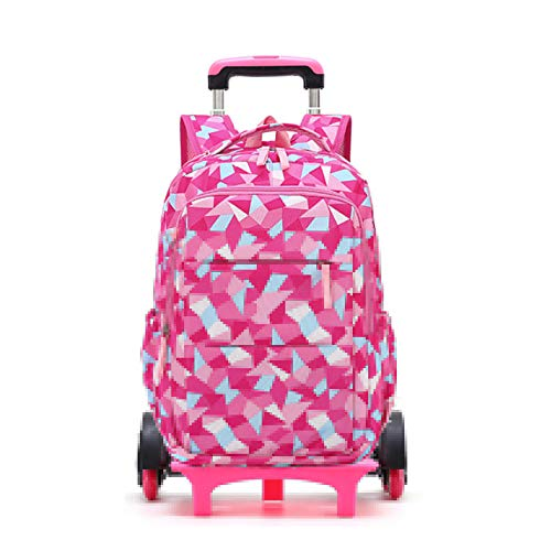 LINLIN Children Adult Trolley Travel Schoolbag Removable Portable Backpacks Kids 6 Wheel Tall Feet Primary Bookbag Fashion Boarding Travel Bag,Red-Six wheel