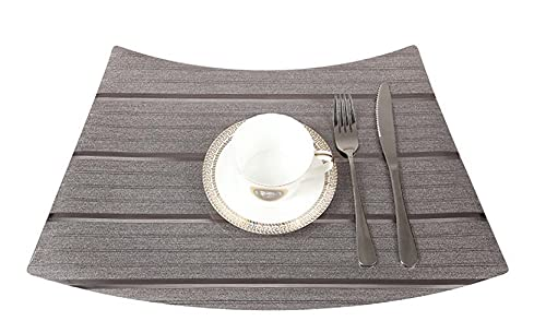 Longsheng PVC Tablecloth Waterproof Western Placemat Printing Home Hotel Table Coaster_TD248 Dark Coffee 33x51cm