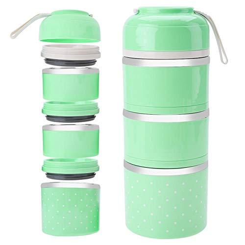 3 Schicht stapelbar Isolierte Lunchbox Edelstahl Bento Box Isolierte Lunchpaket Lebensmittelbehälter für Mädchen(grün)