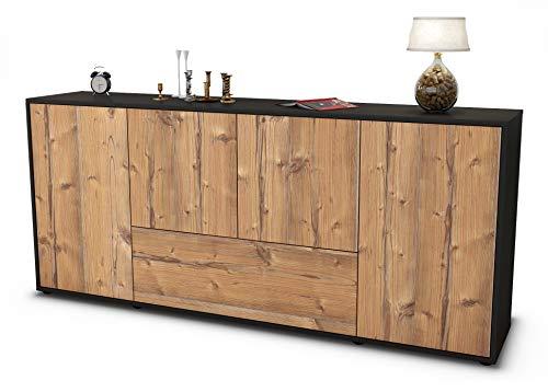 Stil.Zeit Sideboard Eli/Korpus anthrazit matt/Front Holz-Design Pinie (180x79x35cm) Push-to-Open Technik