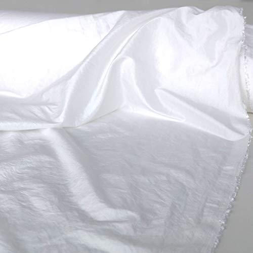 TOLKO Kleider-Taft als Modestoff/Dekostoff | edel Changierend und glänzend | Stoff zum Nähen und Dekorieren | Blickdicht, knitterarm | Meterware 145cm breit (Weiß Crash)