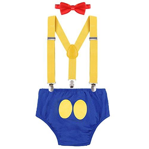 Disfraz de pato Donald para recin nacido, para nios de 1, 2 o 3 cumpleaos, con tirantes ajustables y espalda en Y y pajarita, 3 piezas Azul 1 6-12 Meses