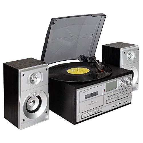 TIANYOU Máquina de Grabación de Vinilo Retro de Gramófono Negro Máquina de Estar de la Sala de Estar de Estilo Europeo de Estilo Europeo Cd Stereo Bluetooth 31.7 * 27.2 * 15.5Cm Vid