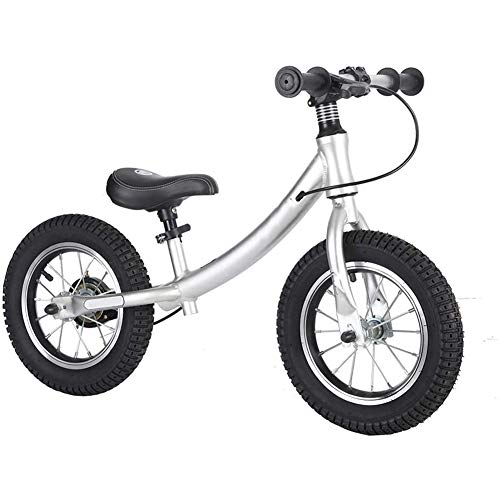 ZXL 12'Balance Bike Toddler Bike 2-6 Anni, Manubrio e Sedile Regolabili, Telaio in Acciaio al Carbonio Senza Pedale Walk Training Bike Boys Girls Regalo di Compleanno,Argento