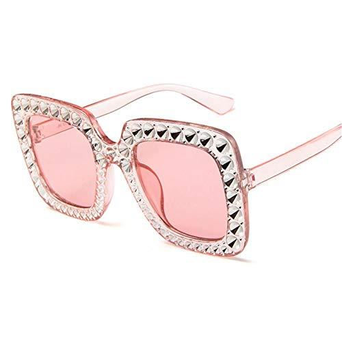 ZZOW Gafas De Sol Cuadradas De Gran Tamaño con Decoración De Cristal De Lujo, Gafas De Sol Graduadas A La Moda para Mujer, Gafas De Sol para Hombre, Gafas De Sol Uv400