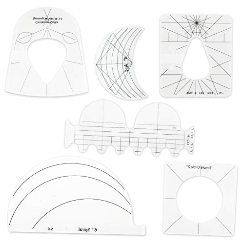 ZoneYan 6 Pcs Quilten Vorlage, Patchwork Lineal Nähen, Lineal Vorlagen, Quilting Template, DIY Sewing Ruler, Sew Ruler, Näh Lineal Muster, Quilten Lineale, Stoffe Lineal, Template Ruler