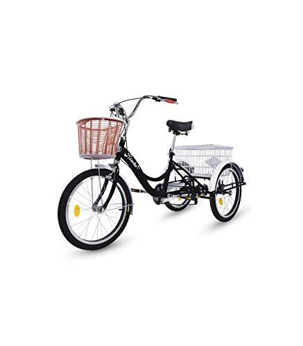 Riscko Wonduu Triciclo para Adultos con 2 Cestas, 6 Velocidades, Asiento Y Manillar Ajustable Mod. Bep-14 Negro Sin Montaje