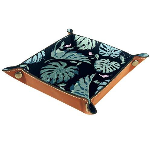 KAMEARI Bandeja de piel con diseño de hojas verdes para llaves, monedero de piel de vacuno, práctica caja de almacenamiento para carteras, relojes, llaves, monedas