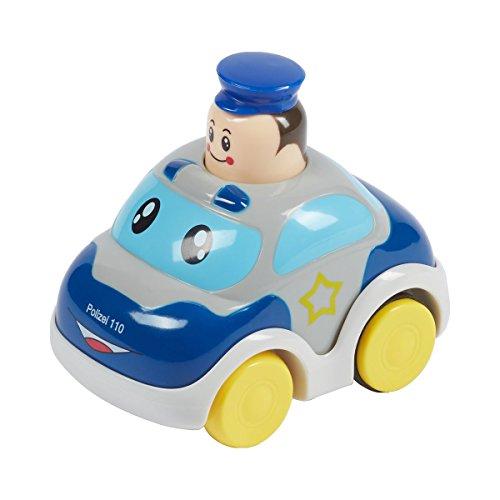 Solini Polizeiauto Push & Go / Kinderspielzeug Krabbeln / Spielzeug Auto Polizei-Design / blau/grau