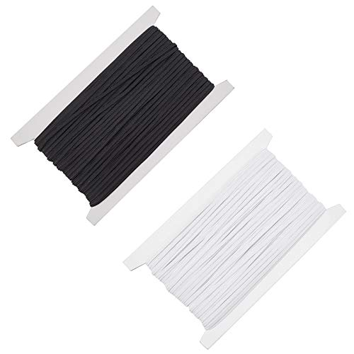 PandaHall Cordón elástico de 60 m para coser con cordón elástico de 3 mm y banda elástica redonda para la oreja, color blanco y negro