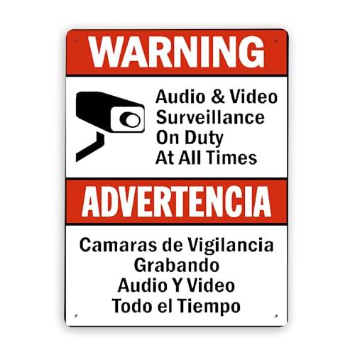 Señal de aviso Señal de advertencia,Advertencia Camaras De Vigilancia Grabando Audio Y Video Todo El Tiempo,Cartel de placa de cartel de metal al aire libre 8x12 Inch