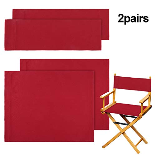 2 Set Casual Directors Chair Cover Kit, Replacement Canvas Seat and Back Cotton Canvas Stool Protector for Home Director Chair Medium Size (Red)