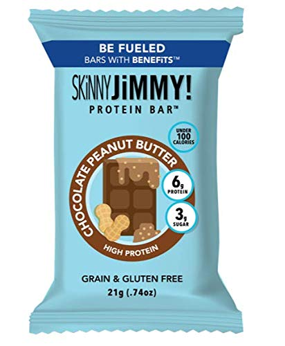 Skinny Jimmy! Chocolate Peanut Butter Mini Protein Bars, Under 100 Calories, 24 Count, Packaging May Vary