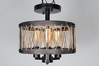 Baiwaiz Round Rustic Semi Flush Mount Ceiling Light, Farmhouse Wood Ceiling Lighting Industrial Black Metal Wire Cage Light Fixture 3 Lights Edison E12 072C