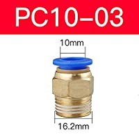 """BXU-BG PC空気圧部品6 8 4mmホースチューブ1/4""""1/2"""" 1/8""""3/8""""雄ねじエアパイプコネクタクイックカップリング真鍮製フィッティング (Color : PC 10 03)"""