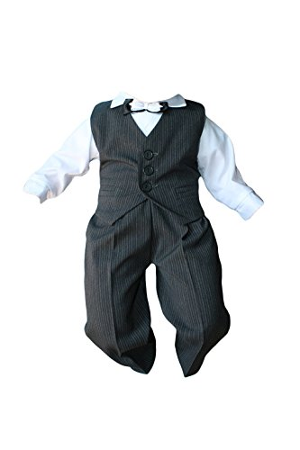 Taufanzug Baby Junge Kinder Kind Taufe Anzug Hochzeit Anzüge Festanzug, 4tlg, Grau-Weiß, Gr.62