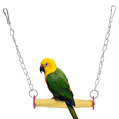 Pssopp Jaula de pájaro con Barra esmerilada para Loros y Escalada, Juguete para Colgar para pájaros pequeños