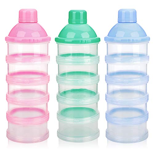 Accmor Baby Milk Powder Formula Dispenser, Non-Spill Smart Stackable Baby Feeding Travel Storage Container, BPA Free, 5 Compartments, 3 Pack