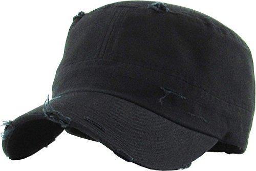 KBETHOS KBK-1466 BLK Pure Cotton Twill Adjustable Cadet GI Hat