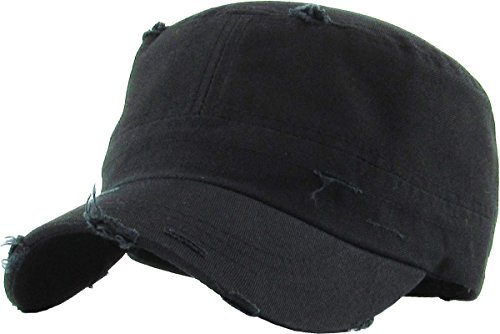 KBETHOS KBK-1466 BLK Pure Cotton Twill Adjustable Cadet GI Hat