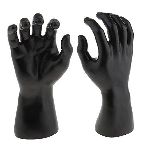 F Fityle Joyería para Hombre Pulsera Reloj Anillo Pantalla Maniquí Masculino Soporte de Mano Derecha - Negro, Individual
