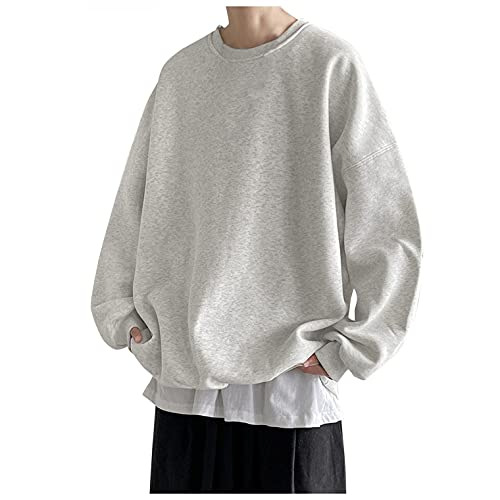 XUNFUN Oversized Crewneck Sweatshirts for Men Casual Loose Fit Long Sleeve Solid Comfy Sports Pullover Tops Fall Blouses(Grey,5X-Large)