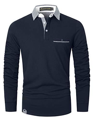 GHYUGR Polo Homme Manche Longue Contrasté Plaid épissure T-Shirt S-2XL (L, Bleu 1)