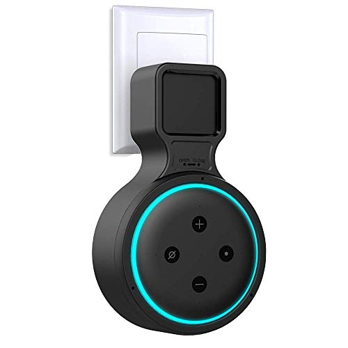 Lamodee Outlet Wall Mount Holder Hanger Stand for Echo Dot 3rd Generation, Smart Dot Speaker Accessories with Space Saving Cord Management - Neat Bracket for Bedroom, Kitchen, Bathroom