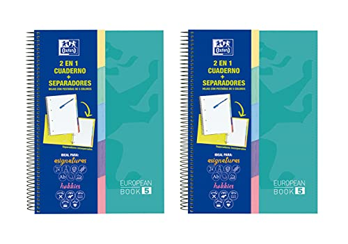 Oxford, Cuadernos microperforados 5 pestañas espiral, Pack de 2 unidades, Tapas extraduras A4+, 100 Hojas con Cuadrícula 5x5, 90 gr, Color ICE MINT