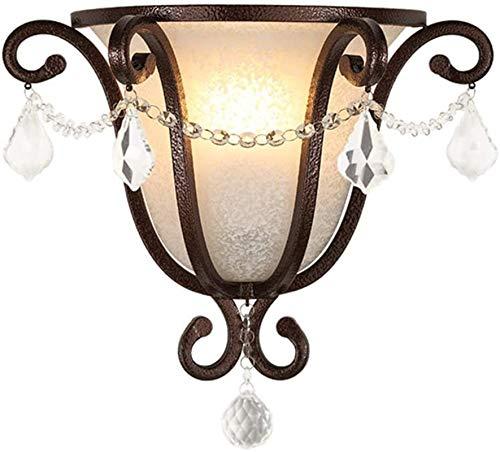 Lámparas de pared industriales, Luz de pared interior vintage vintage rústico frostado lámpara rociada blanco piedra patrón diseño antiguo labrado hierro cristal americano pared lámpara e27 socket par