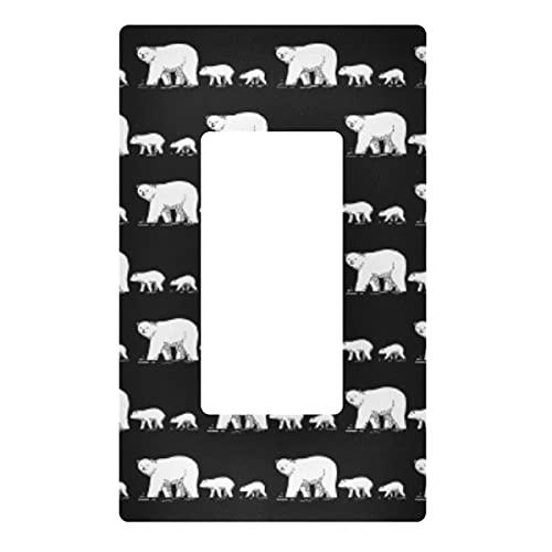 Placa decorativa de pared con interruptor de luz – Polar Bear Family Outlets Cubierta de placa de interruptor de 3 bandas para dormitorio, cocina, decoración del hogar
