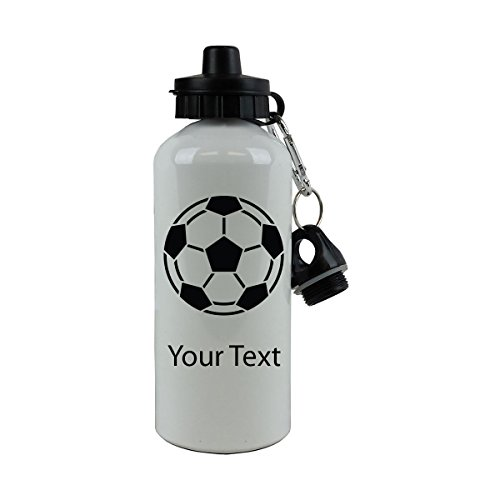 Personalized Custom Soccer Ball Aluminum White Finish 20-Ounce 600ML Sport Water Bottle, 2 Lids, Customizable (Black)