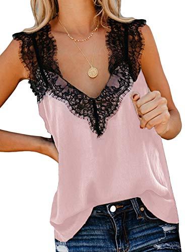 Aleumdr Tops Damen Spitze Tunika Top Sommer Bluse Ärmellose V-Ausschnitt Tank Top Oberteil Bluse Elegant Weste Hemdbluse Pink XXL