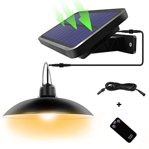 Solarleuchten für Außen Innen - Solar Hängeleuchte Retro Solarlampe mit Fernbedienung & 3M Kabel Solar Pendelleuchte für Garten Balkon Garage, IP65 Wasserdichte (16LED - Warmes Licht)