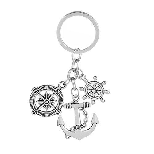 Luoem Schlüsselanhänger aus Metall für Studenten (Kompass, Ruder für Boote, Anker, Boot)