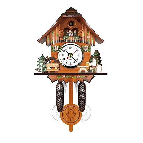 Venus Valink Antike Kuckucksuhr, Holz Kuckucksuhr Vogel Zeit Glocke Swing Alarm Uhr Home Wohnzimmer Schlafzimmer Art Decor – 12 x 23 x 5,5 cm 06