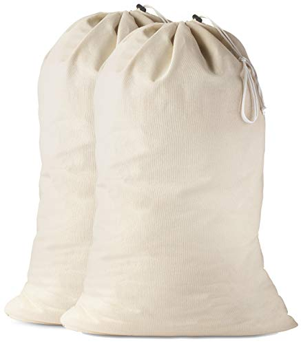 Cotton Laundry Bag - The Extra Heavy Duty Washable Laundry Bag with Drawstring Makes a Great Cloth Storage Sack for Sleeping Bag, Linen Basket Liner, Hamper Liner and Travel. (2-Pack)